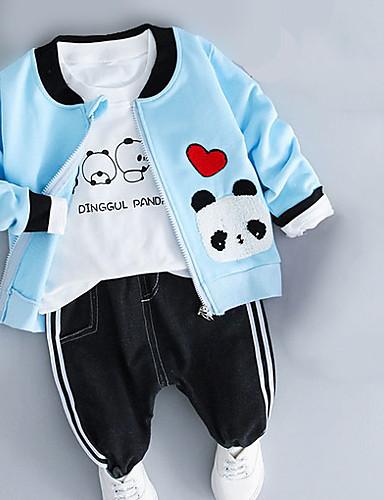 preiswerte Kinder Mode Kollektion Ausverkauf-Baby Jungen Grundlegend Alltag Solide Langarm Standard Kleidungs Set Rosa