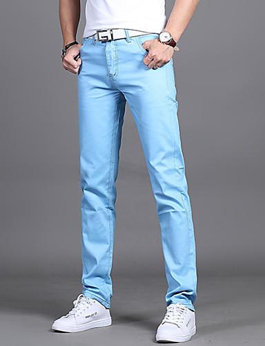 preiswerte Anzüge-Herrn Grundlegend Alltag Schlank Anzüge Hose - Solide Leicht Blau Armeegrün Khaki 31 32 28