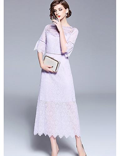 Women s Daily Maxi Slim Sheath Dress - Solid Colored Lace High Waist Crew  Neck Summer Purple M L XL 6816702 2019 –  41.99 f0bebaa79