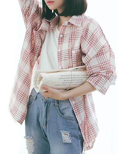 billige Dametopper-Skjortekrage Skjorte Dame - Stripet Ut på byen Blå