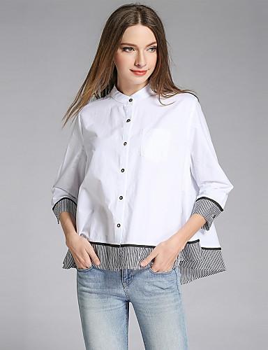 preiswerte Oberteile-Damen Einfarbig - Street Schick Baumwolle Hemd, Ständer Lose