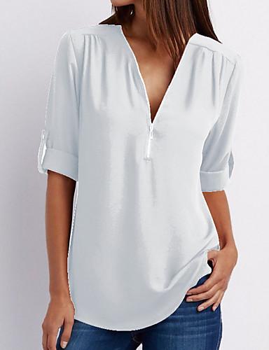 preiswerte Stilvolle modische Bekleidung-Damen Solide Baumwolle T-shirt, V-Ausschnitt