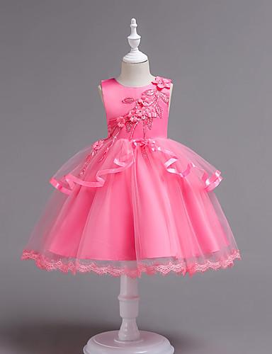 preiswerte Kinder Mode-Kinder Mädchen Grundlegend Süß Alltag Schultaschen Solide Blumen Gitter Ärmellos Knielang Kleid Rosa / Baumwolle
