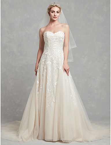 cheap Wedding Dresses-A-Line Sweetheart Neckline Chapel Train Lace / Tulle Strapless Romantic / Glamorous Plus Size / Backless Wedding Dresses with Lace 2020
