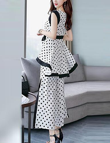 billige Todelt dress til damer-Dame Arbeid Gatemote / Sofistikert Store størrelser Løstsittende Lang Sett Bukse - Sløyfe / Delt, Polkadotter / Sommer / Sexy