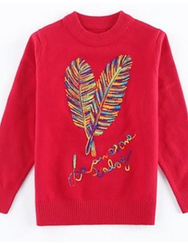 preiswerte Zurück in die Schule-Kinder Mädchen Grundlegend Blumen Langarm Baumwolle Pullover & Cardigan Rote
