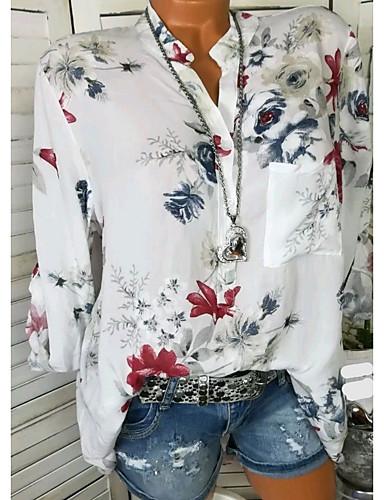 billige Dametopper-Skjorte Dame - Blomstret Ut på byen Hvit