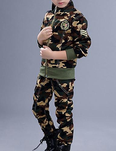 رخيصةأون فاشن وملابس-مجموعة ملابس كم طويل لون سادة أساسي للصبيان أطفال
