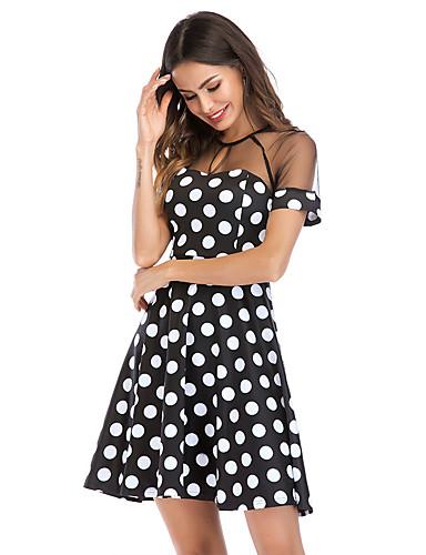 preiswerte Zurück in die 80er-Damen Übergrössen Grundlegend Puff Ärmel Baumwolle Tunika Kleid - Quaste, Punkt Knielang Schwarz & Weiß