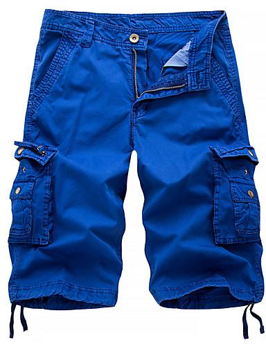 billige Shorts-Herre Gatemote / Militær Ut på byen Chinos / Shorts / Lastebukser Bukser - Ensfarget Svart Blå Rød 30 31 32