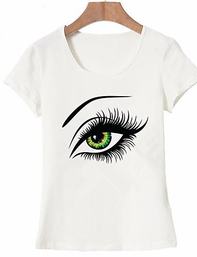billige Dametopper-Bomull T-skjorte Dame - Portrett, Trykt mønster Grunnleggende Ut på byen Lyseblå