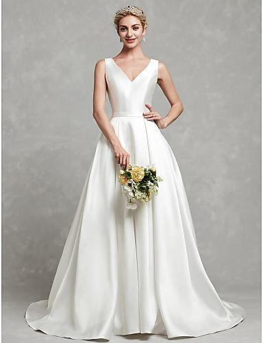 cheap Wedding Dresses-A-Line V Neck Chapel Train Satin Regular Straps Wedding Dresses with Lace / Sash / Ribbon / Buttons 2020