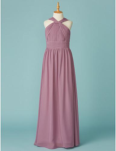 5514ff401 A-Line V Neck Floor Length Chiffon Junior Bridesmaid Dress with Ruffles by LAN  TING BRIDE® 6677288 2019 – $69.99