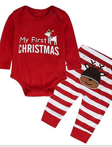 preiswerte Kinder Mode Kollektion Ausverkauf-Baby Jungen Grundlegend Alltag Solide Langarm Standard Kleidungs Set Rote