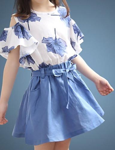 preiswerte Ausverkauf-Kinder Mädchen Grundlegend Solide Blumen Kurzarm Kleidungs Set Blau