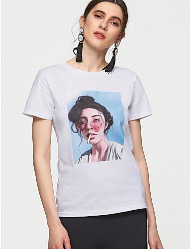 billige Dametopper-Bomull T-skjorte Dame - Ensfarget / Portrett Grunnleggende Hvit / Sommer