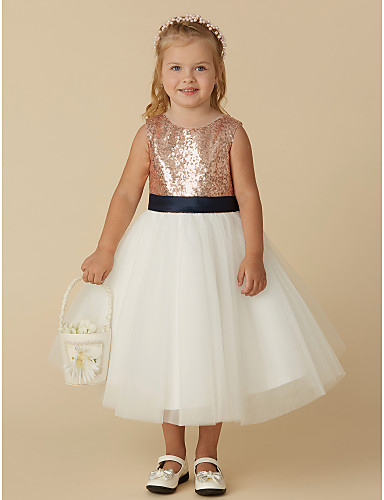 ddfcfc26e363 Princess Tea Length Flower Girl Dress - Tulle / Sequined Sleeveless Jewel  Neck with Bow(s) / Paillette by LAN TING BRIDE® 6698042 2019 – $74.99