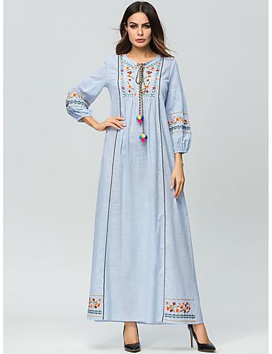 levne Maxi šaty-Dámské Základní Nahoře nabírané Abaya Šaty - Geometrický, Výšivka Maxi