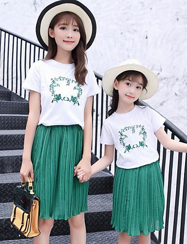 preiswerte Ausverkauf-Mama und ich Grundlegend Alltag Geometrisch Kurzarm Kleidungs Set Grün