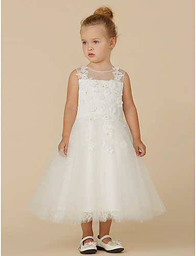 0f800d78cd6 Princess Tea Length Flower Girl Dress - Lace   Tulle Sleeveless ...