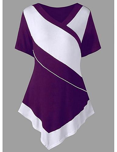 billige T-skjorter til damer-V-hals T-skjorte Dame - Fargeblokk Ut på byen Svart