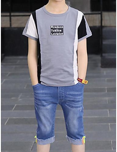 preiswerte Mode für Jungen-Kinder Jungen Grundlegend Geometrisch Einfarbig Kurzarm Baumwolle Kleidungs Set Weiß