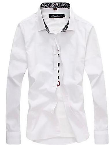 levne Pánské košile-Pánské - Jednobarevné Práce Košile Bílá / Dlouhý rukáv