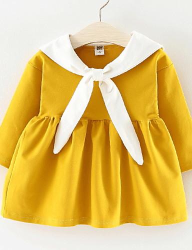 preiswerte Kleider mit Spitze für Mädchen-Baby Mädchen Aktiv Alltag Einfarbig Patchwork Langarm Knielang Baumwolle Kleid Rote