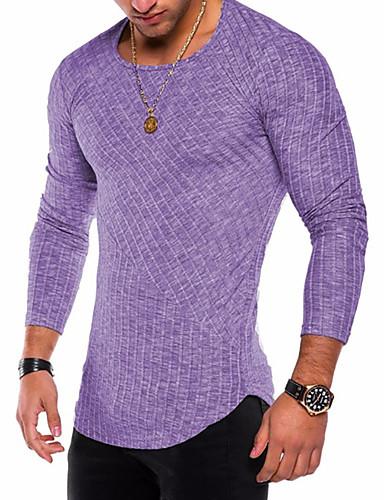 preiswerte Herrenmode-Herrn Solide - Grundlegend / Militär Übergrössen Baumwolle T-shirt, Rundhalsausschnitt Purpur / Langarm