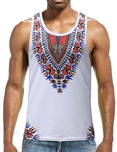 a5f1ba79b082ad Men s Boho Cotton Slim Tank Top - Floral   Color Block   Tribal Print Round  Neck   Sleeveless 6772236 2019 –  18.69