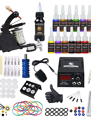 cheap Beauty & Hair Super Sale-Tattoo Machine Starter Kit - 1 pcs Tattoo Machines with 15*5 ml tattoo inks, Safety, All in One, Easy to Setup Alloy LCD power supply 1 alloy machine liner & shader