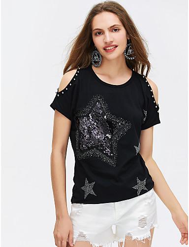 billige Dametopper-Bomull T-skjorte Dame Trykt mønster Hvit / Sommer / Paljetter / Utskjæring