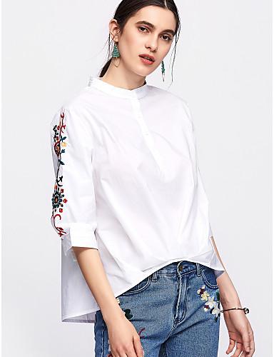 billige Skjorter til damer-Bomull Crew-hals Skjorte Dame - Ensfarget / Blomstret Grunnleggende Blå / Sommer