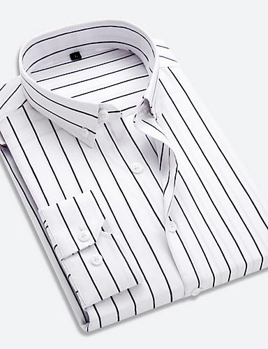 billige Herreskjorter-Klassisk krage Skjorte Herre - Stripet Forretning / Grunnleggende Arbeid Rød / Langermet