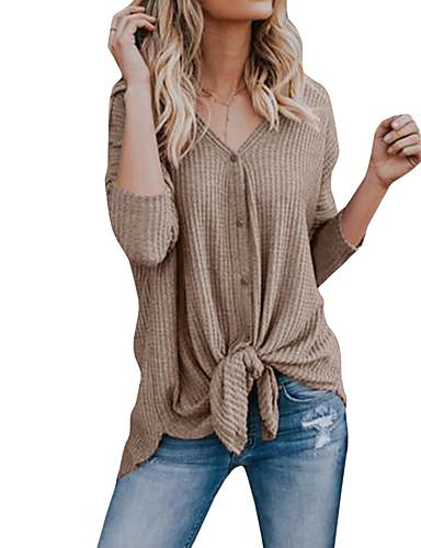 billige Dametopper-Bomull V-hals T-skjorte Dame - Ensfarget Gatemote Grå