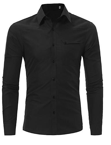 preiswerte Formelle Hemden-Herrn Solide - Geschäftlich Arbeit Baumwolle Hemd Schwarz / Langarm