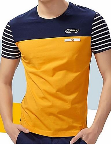 levne Vánoce-Pánské - Proužky / Barevné bloky Větší velikosti Tričko, Patchwork Bavlna Kulatý Žlutá / Krátký rukáv