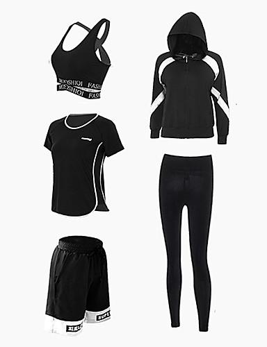 povoljno Odjeća za fitness, trčanje i jogu-Žene Kolaž Spandex Joga odijelo Zumba Trčanje Fitness Sportski Veći konfekcijski brojevi Prozračnost Quick dry Sportski grudnjaci Jakna Trenirka Odjeća za rekreaciju Rastezljivo