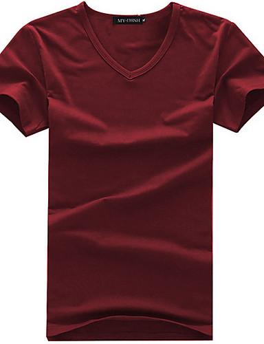 levne Pánská tílka-Pánské - Jednobarevné Tričko Kulatý Bílá / Krátký rukáv