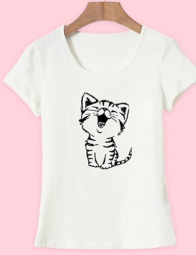 billige Dametopper-Bomull T-skjorte Dame - Dyr, Trykt mønster Grunnleggende Ut på byen Katt Hvit
