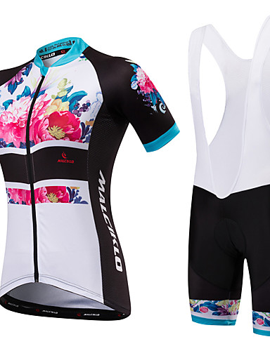 ราคาถูก ลดล้างสต็อกครั้งใหญ่-Malciklo สำหรับผู้หญิง แขนสั้น Cycling Jersey with Bib Shorts ขาว สีดำ ลวดลายดอกไม้ / เกี่ยวกับพฤษศาสตร์ ขนาดพิเศษ จักรยาน Bib Shorts เสื้อยืด แป้นสั้น / สแปนเด็กซ์ / ระบายอากาศ / ออกแบบตามสรีระ