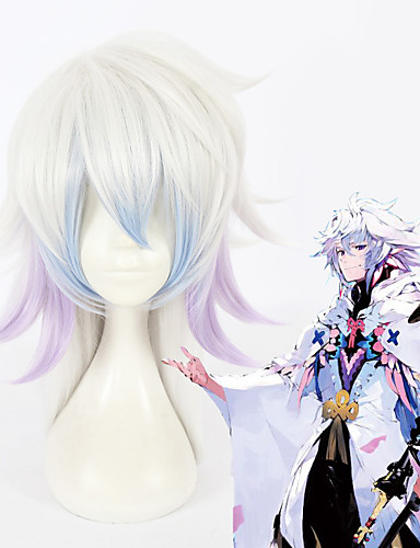 povoljno Maske i kostimi-Sudbina / Veliki red Merlin Cosplay Wigs Sve 18 inch Otporna na toplinu vlakna Pink Anime