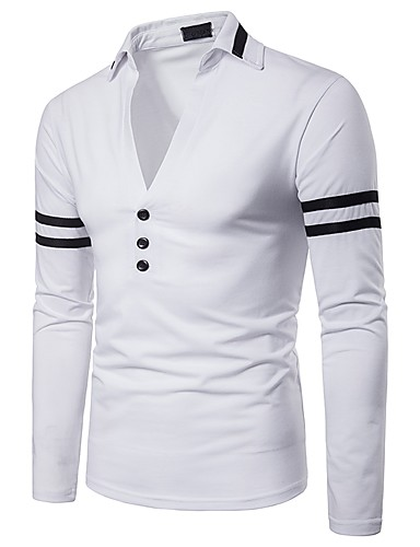 cheap Men's Clothing-Men's Solid Colored Black & White Patchwork Polo Basic Punk & Gothic Daily Weekend White / Red / Navy Blue / Long Sleeve