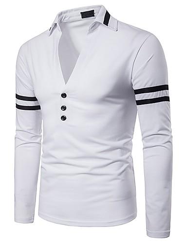 levne Pánská polo trika-Pánské - Jednobarevné / Barevné bloky Základní / Punk & Gothic Polo, Patchwork Černá a Bílá Bílá / Dlouhý rukáv