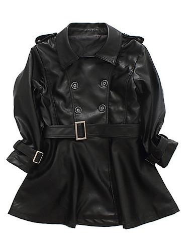 preiswerte Zurück in die Schule-Kinder Mädchen Grundlegend Solide Langarm Anzug & Blazer Schwarz