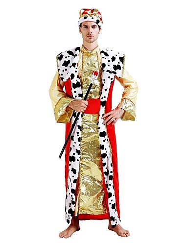 povoljno Maske i kostimi-Princ Kralj Kostim Muškarci Odrasli Halloween Halloween Karneval Maškare Festival / Praznik Polyster odjeća Zlatan Jednobojni Halloween