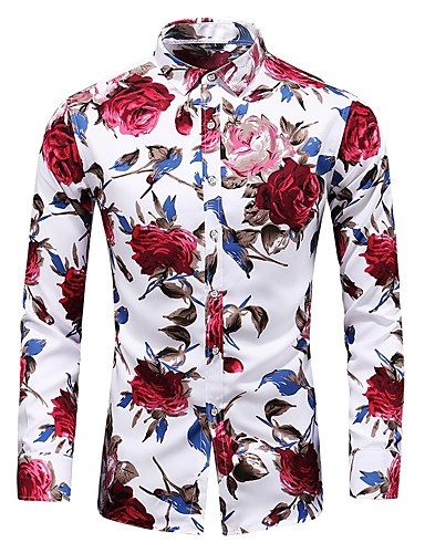 cheap White Shirts-Men's Daily Plus Size Shirt Floral Print Long Sleeve Slim Tops Basic Vintage Black Blue Red