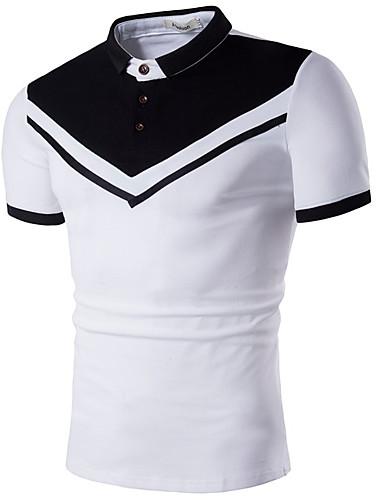 levne Pánská polo trika-Pánské - Barevné bloky Polo, Tisk Bavlna Košilový límec Bílá / Krátký rukáv / Léto