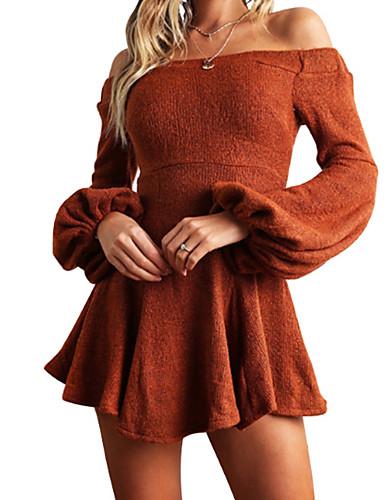 preiswerte Schulterfrei-Damen Ausgehen Aufflackern-Hülsen- Schlank Hülle Kleid Solide Mini Bateau / Sexy