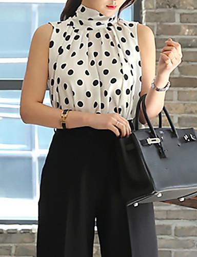 billige Skjorter til damer-Tynn Crew-hals Store størrelser Skjorte Dame - Polkadotter, Blondér Vintage / Gatemote Ut på byen Hvit / Sommer